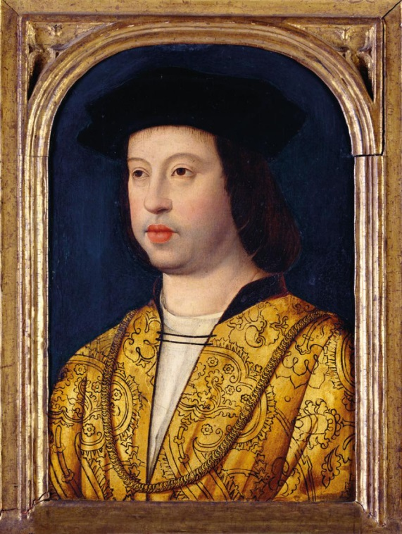 Fernando II de Aragón, pintor inglés anónimo, h. 1500-10, Royal Collection Trust / @ Her Majesty Queen Elizabeth II, 2015. Arriba, detalle del retrato.